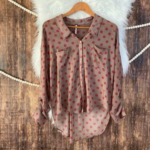 Free People | Easy Rider Polka Dot Button Down S